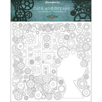 Stamperia - Cuts and Scraps - Greyboard cm. 30x30/1 mm - Lady and gears