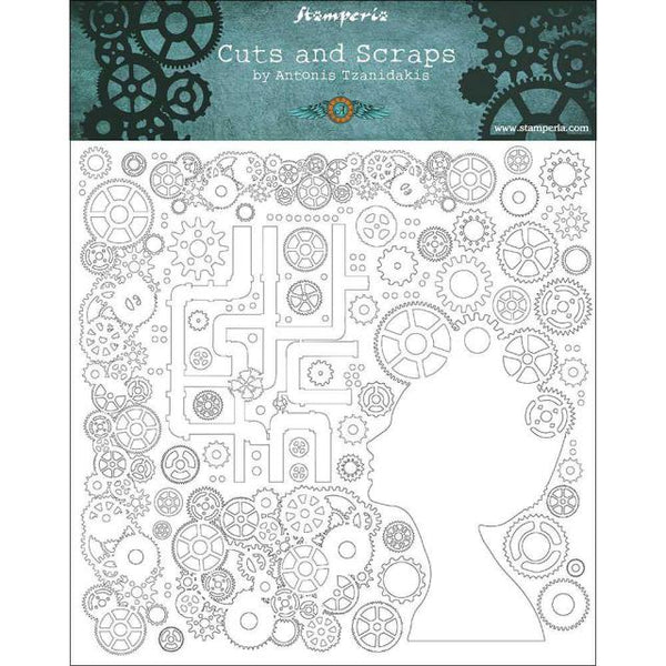 STAMPERIA - CUTS AND SCRAPS - GREYBOARD  30x30/1 mm - LADYS AND GEARS
