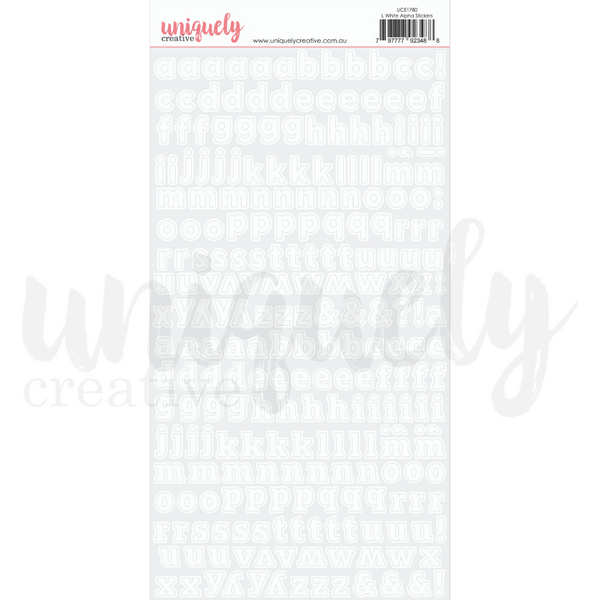 UNIQUELY CREATIVE - LOWERCASE WHITE ALPHA STICKERS