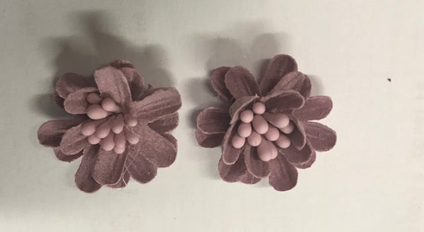 CRAFTY CONCEPTS - ROUND FABRIC DECO FLOWERS MAUVE - 2 IN A PACKET