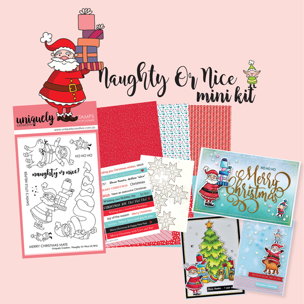 UNIQUELY CREATIVE - NAUGHTY OR NICE STAMP & COLOUR MINI KIT