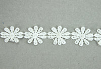 GREEN TARA -  LACE RIBBON 25MM WHITE FLOWER (SOLD PER METRE)