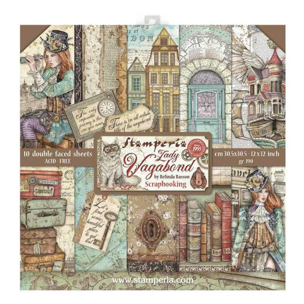 STAMPERIA -  12 x 12- PAPER PACK - LADY VAGABOND