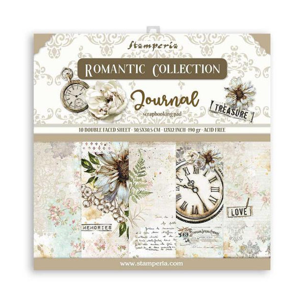 STAMPERIA -  12 x 12- PAPER PACK - ROMANTIC JOURNAL