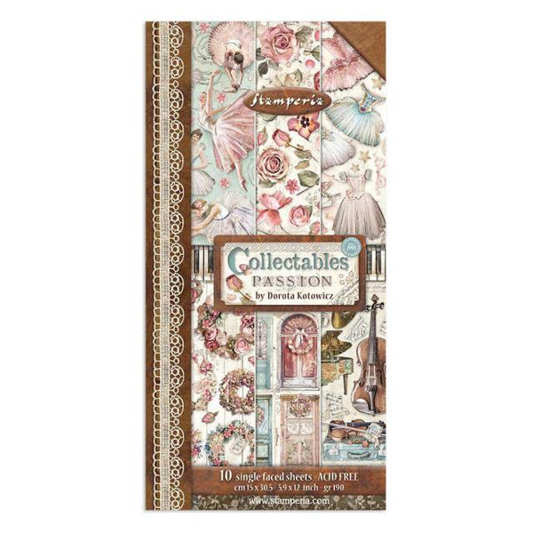 "STAMPERIA -  COLLECTABLES 10 SHEETS CM 15X30,5 (6""X12"") PASSION"