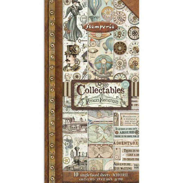 "STAMPERIA -  COLLECTABLES 10 SHEETS CM 15X30,5 (6""X12"") VOYAGES FANTASTIQUES"