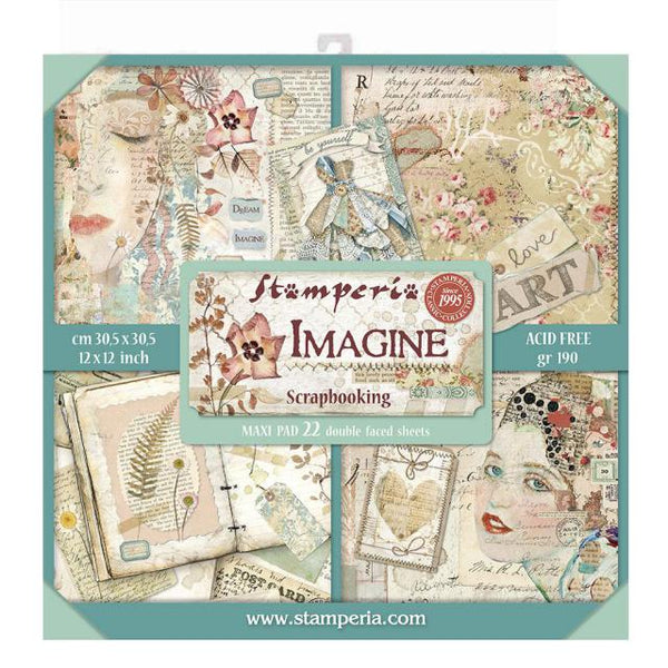 STAMPERIA - 12 x 12 PAPER PACK - IMAGINE - MAXI PAD 22 SHEETS