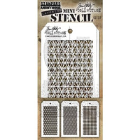 STAMPERS ANONYMOUS - TIM HOLTZ -  MINI LAYERING STENCIL SET 27 Diamonds, Woven, and Grid Dot.