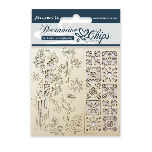 STAMPERIA - DECORATIVE CHIPS - FLOWERS