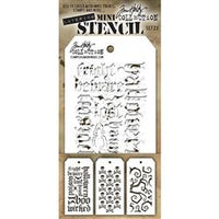 TIM HOLTZ- MINI LAYERING STENCIL - SET 23 - THE SET INCLUDES Halloween Script, Crossbones, and Twisted.