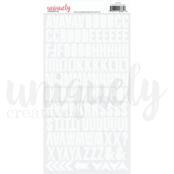 UNIQUELY CREATIVE - UPPERCASE WHITE ALPHA STICKERS