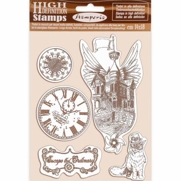 STAMPERIA - HD Natural Rubber Stamp cm 14x18 Lady Vagabond flying ship