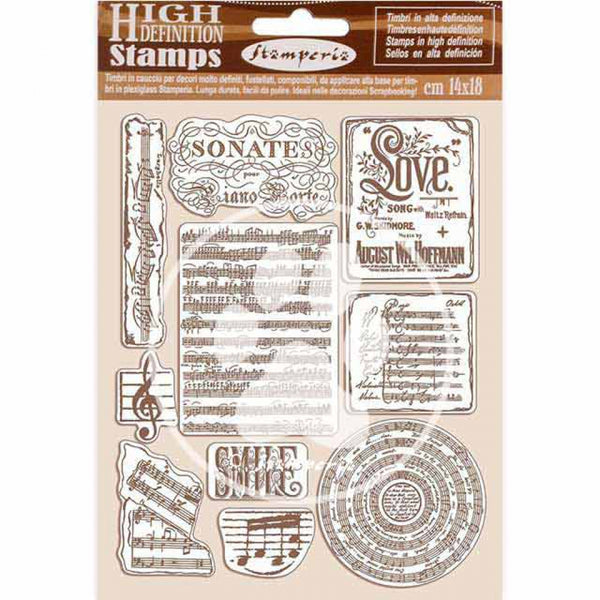 STAMPERIA - HD Natural Rubber Stamp cm 14x18 PASSION MUSIC