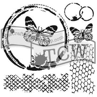 TCW -6x6 - Mini Butterfly Collage - Stencil