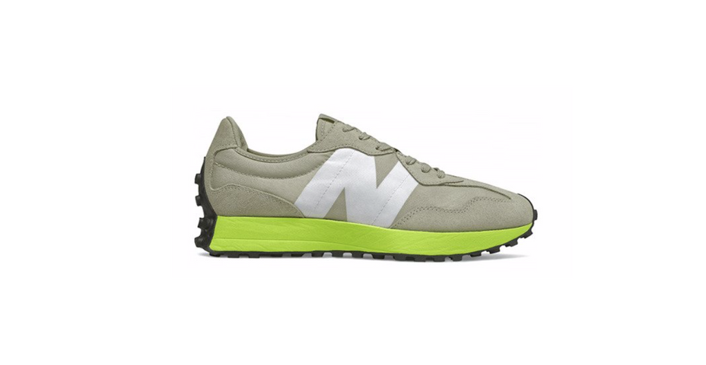 New Balance 327 'Grey Oak - Lemon Slush' | Foot Placard