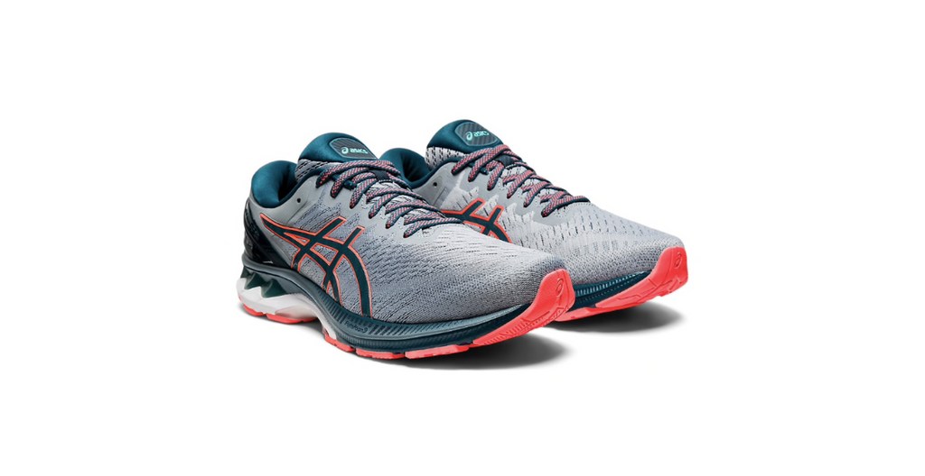 ASICS Gel-Kayano 27 'Sheet Rock - Magnetic Blue' | Foot Placard