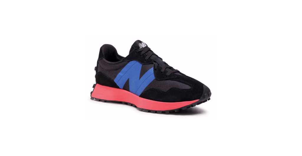 New Balance Wmns 327 'Black - Energy Red' | Foot Placard
