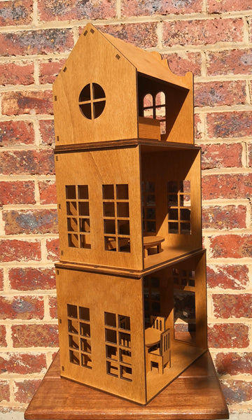 wooden doll house packable stackable