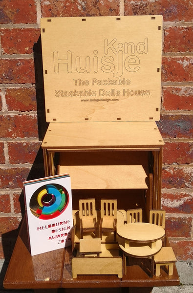 award winning wooden doll house packable stackable