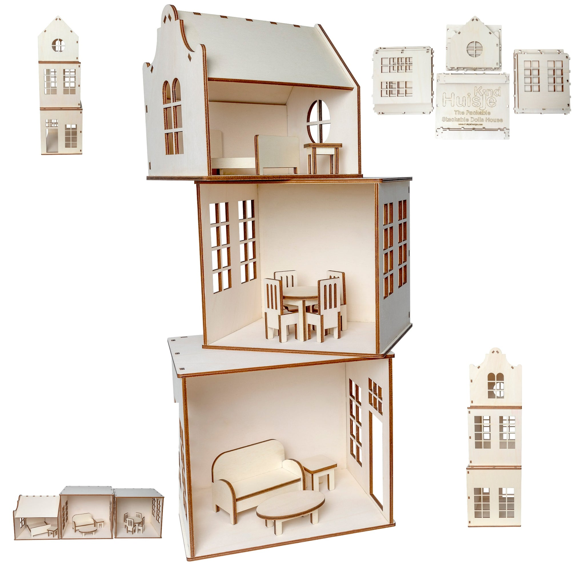 Wooden Play House DIY Kit includes Pre-made Furniture