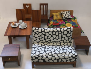 Sitting & Bedroom Wood Grain Furniture Set - Dolls House - 1:12 scale