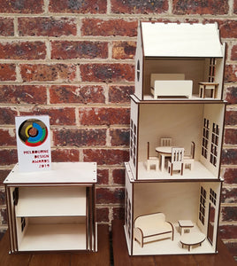 Wooden Dolls House DIY Kit inclusive Pre-made Furniture - Free Shipping in Australia