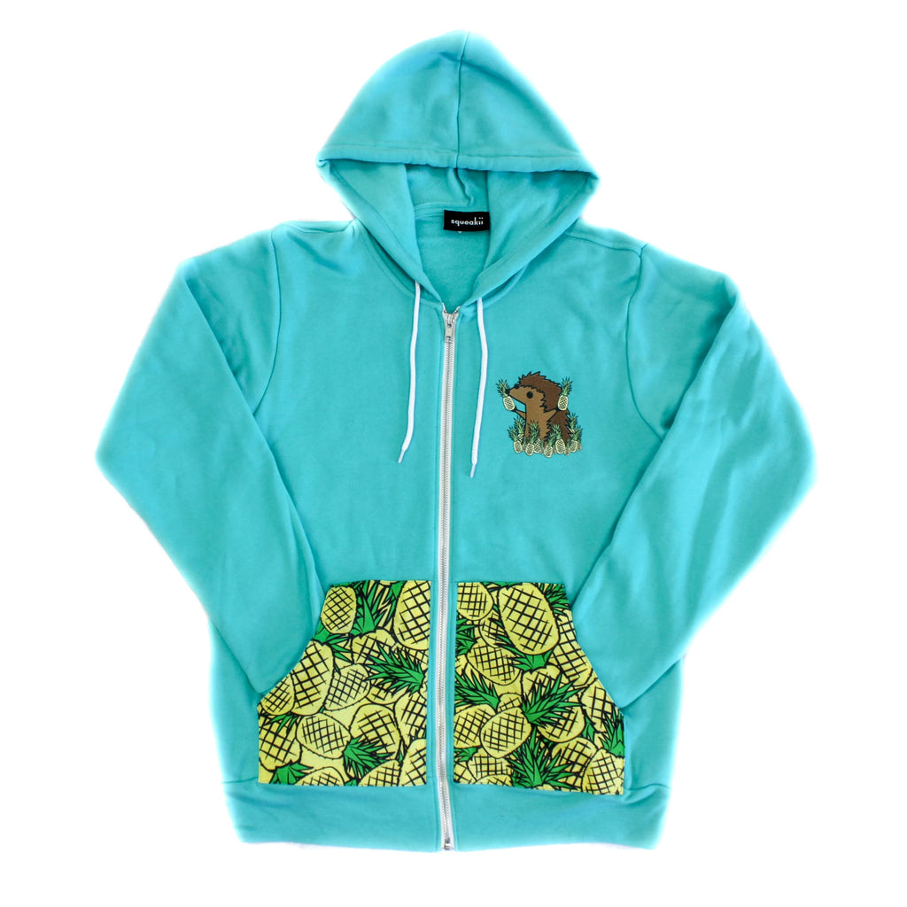 Hedgie Pineapple Pocket Hoodie Teal - Squeakii