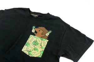 Hedgie Pineapple Pocket Shirt Black - Squeakii