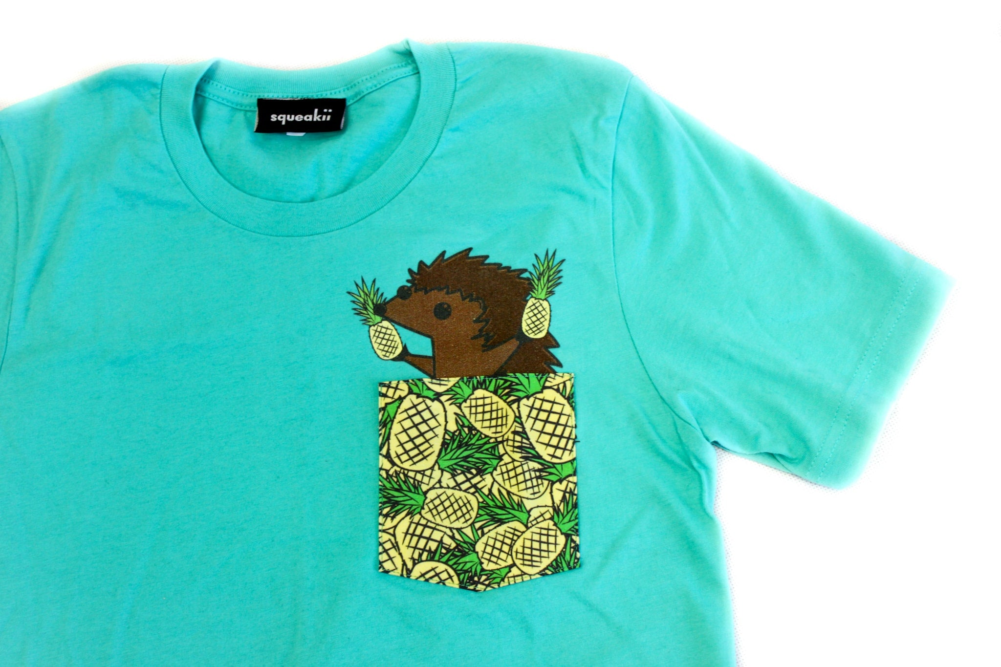 Hedgie Pineapple Pocket Shirt Teal - Squeakii