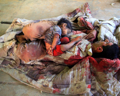Children who have been killed and piled up