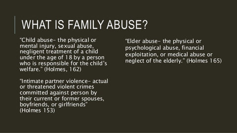 Family Abuse--What does it consist of