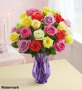 1-800-Flowers Two Dozen Assorted Roses With Purple Vase Flowers