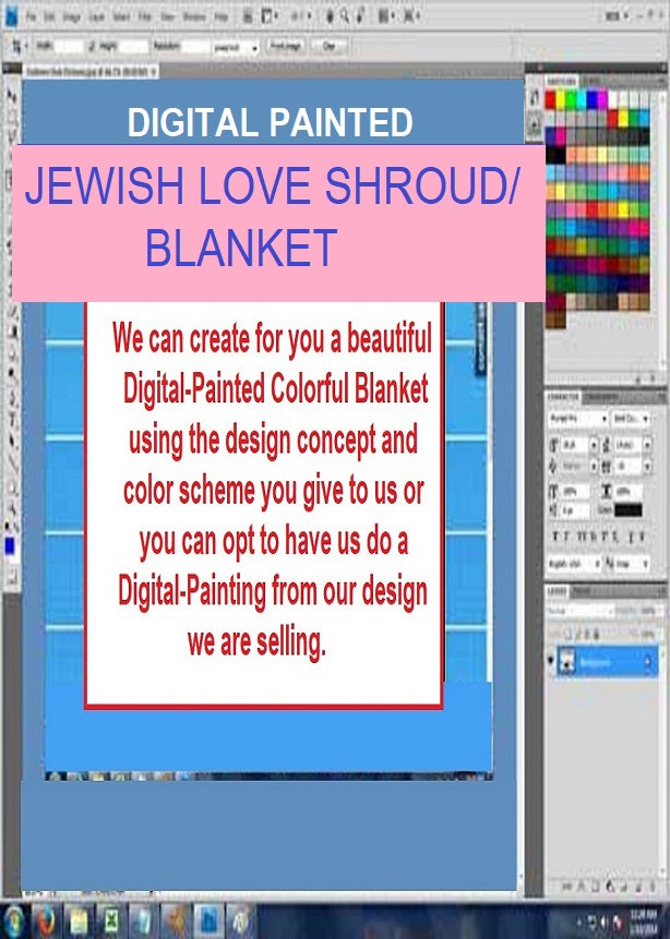 Shroud-Blanket-Digital Painted - Jewish Love Sacred You'll Cherish Love Shroud-Burial Blanket