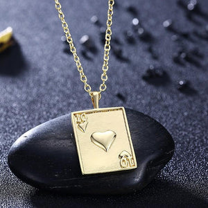 Cards Of Hearts Necklace in 18K Gold Plated - Voiceopin International: Child Abuse Information & Online Shopping Center