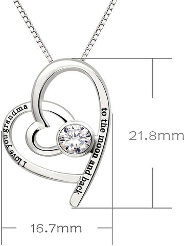 Grandma, I Love You Designer Swarovski Crystals - Pave Heart Necklace - Voiceopin International: Child Abuse Information & Online Shopping Center