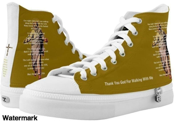 High Top Sneaker-Thank You God For Walking With Me Love Hot Sneaker Us Men 4 / Women 6 White And