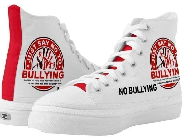 High Top Sneakers-Just Say No To Bullying You'll Cherish Love High Top Sneakers - Voiceopin International: Child Abuse Information & Online Shopping Center