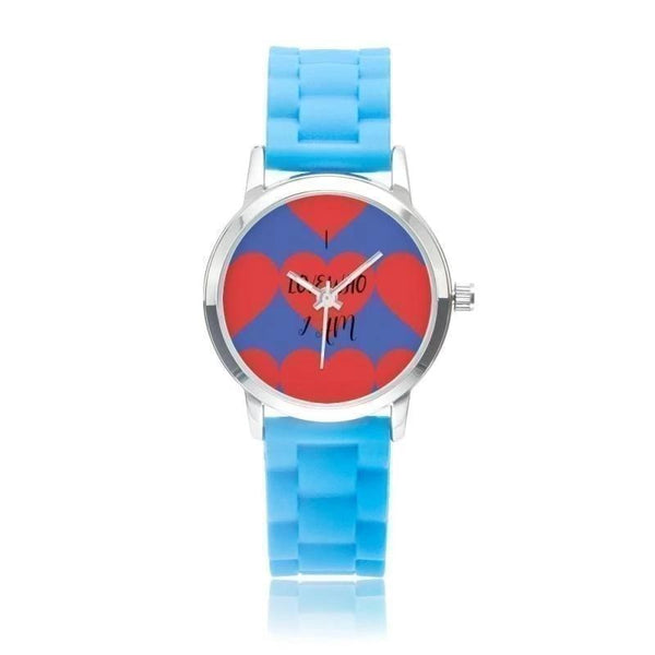 I Love Who Am Silica Gel Strap Water Resistant Quartz Youth Watch-Blue Blue / Background - Diameter