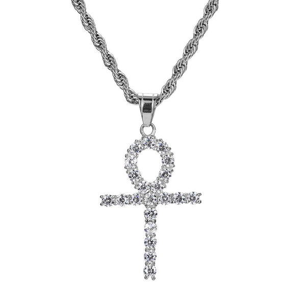 Iced Out Celtic Sun Cross 18K White Gold Filled with Diamond Cut Chain - Voiceopin International: Child Abuse Information & Online Shopping Center