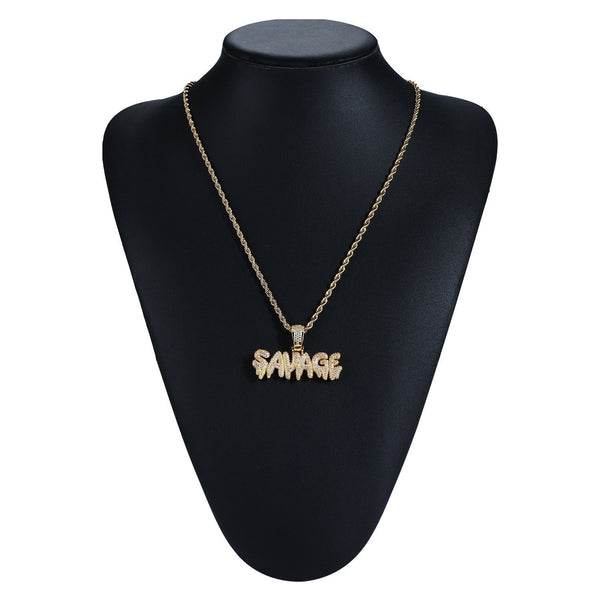 Iced Out SAVAGE Necklace in 18K Gold Filled with Diamond Cut Chain - Voiceopin International: Child Abuse Information & Online Shopping Center