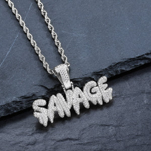 Iced Out SAVAGE Necklace in 18K White Gold Filled with Diamond Cut Chain - Voiceopin International: Child Abuse Information & Online Shopping Center