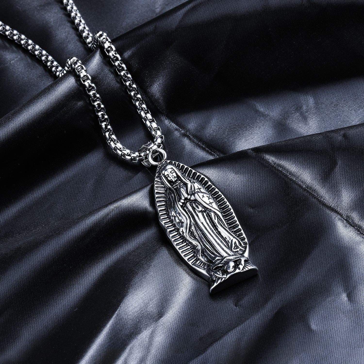 Pray For Me Mother Mary Pendant Designer Necklace -White Gold Filled