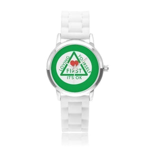 Loving Yourself It's OK Silica Gel Strap Water Resistant Quartz Youth Watch-Green Faced - Voiceopin International: Child Abuse Information & Online Shopping Center