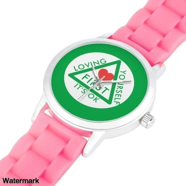 Loving Yourself Its Ok Silica Gel Strap Water Resistant Quartz Youth Watch-Green Faced Watch