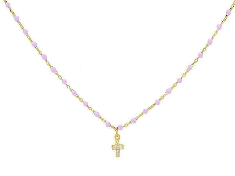 Miniature Pink Enamel CZ Cross Necklace - Voiceopin International: Child Abuse Information & Online Shopping Center