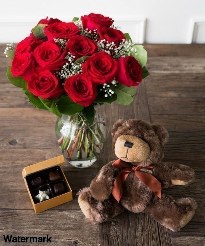 One Dozen Red Roses with Godiva Chocolate and Stuffed Teddy Bear - Voiceopin International: Child Abuse Information & Online Shopping Center