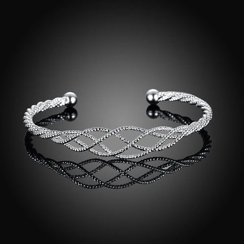 Silver Plated Intertwined Honeycomb Matrix Women's Bangle - Voiceopin International: Child Abuse Information & Online Shopping Center