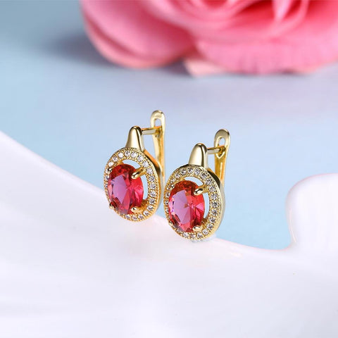 Simulated Ruby Circular Pav'e Leverback Earrings Set in 18K Gold - Voiceopin International: Child Abuse Information & Online Shopping Center