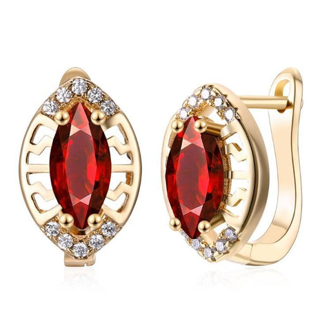 Simulated Ruby Laser Cut Pear Shaped Leverback Earrings Set in 18K Rose Gold - Voiceopin International: Child Abuse Information & Online Shopping Center
