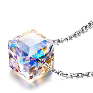 Sterling Silver Aurora Borealis Cubed Life Necklace with Swarovski Crystals - Voiceopin International: Child Abuse Information & Online Shopping Center